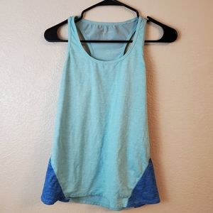 Fabletics Blue Sleeveless Mesh Workout Yoga Top